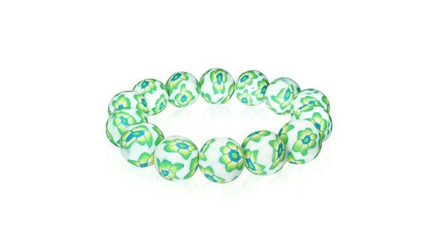 4820907fcc Divatos zöld-fehér virág mintás gyöngyös bizsu karkötő - Bizsu ...