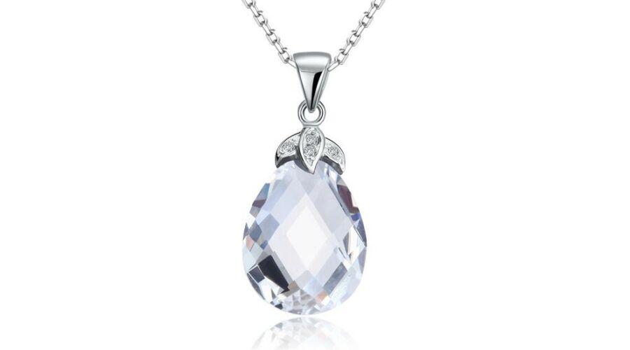 38603ee81 Csepp alakú kristály nyaklánc - 925 ezüst ékszer