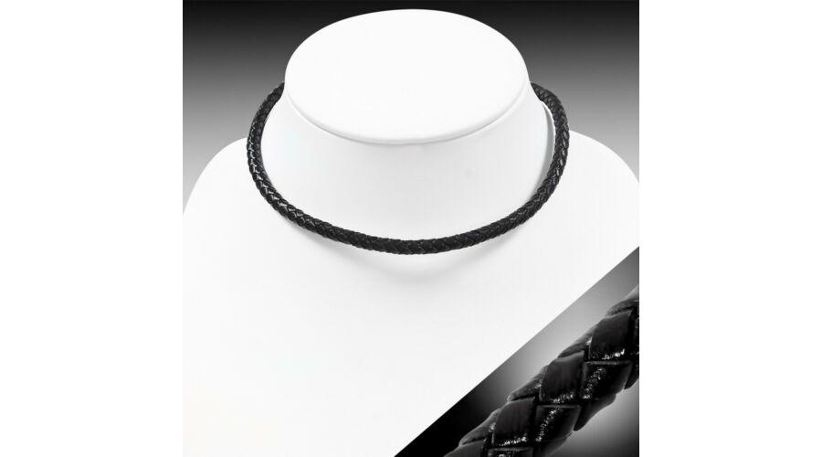 c1d3ad281f Fekete színű fonott bőr karkötő vagy nyaklánc, nemesacél dísszel ...